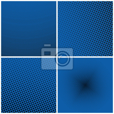 Plakat Zestaw Niebieski Retro Style Pop Art, Niebieskie Tło z Czarnymi Punktami, Gradient z górnego prawego do dolnego Lewa i Kontrastowa, Gradientowa Down Up i od środka, Ilustracja wektorowa