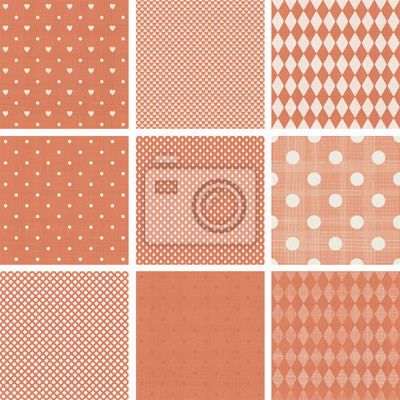 Plakat zestaw niebieski wyblakłe polka dot bez szwu desenie retro