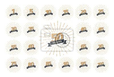 Plakat Zestaw numerów logo na białym tle rocznica z ilustracji wektorowych wstążki i fajerwerki. Odosobniona kolekcja rocznik ikony wakacje, urodziny świętować