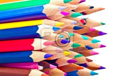 Plakat Zestaw ołówków artystycznych w jasnych kolorach na białym backgrou