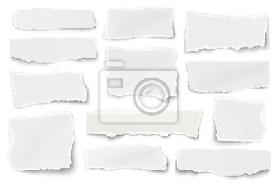Plakat Zestaw papierowych ścinków różnych kształtach na białym