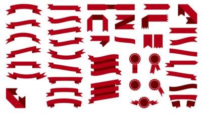 Plakat Zestaw pięknych kolorowych świątecznych czerwonymi wstążkami. Wektor illustratio
