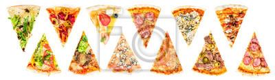 Plakat zestaw plasterka pysznych świeżej włoskiej pizzy wyizolowanych na białym tle
