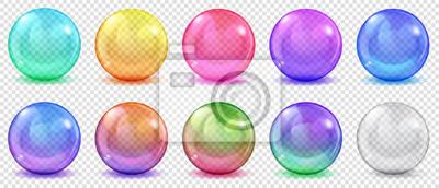 Plakat Zestaw półprzezroczyste kolorowe kulki z spojrzenia i cienie na przezroczystym tle. Przejrzystość tylko w formacie wektorowym