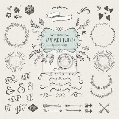 Plakat zestaw ponad 60 ręcznie szkicowane elementy projektu