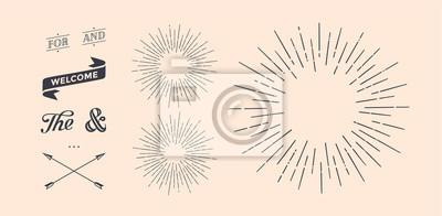 Plakat Zestaw promieni świetlnych, sunburst i promienie słońca. Elementy projektu, rysunek liniowy, styl vintage hipster. Promienie słoneczne, strzałka, wstążka, i, dla, i ampersand. Ilustracja wektora