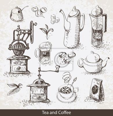 Plakat Zestaw przyborów do picia herbaty i kawy