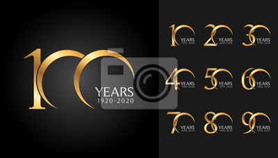 Plakat Zestaw rocznicowych odznak. Projekt godła uroczystości złotej rocznicy dla profilu firmy, broszury, ulotki, czasopisma, plakatu broszury, strony internetowej, zaproszenia lub karty z pozdrowieniami.