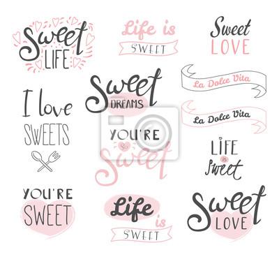 Plakat Zestaw różnych elementów typografii o słodyczy, życiu i miłości, włoski tekst La dolce vita (Słodkie życie). Pojedyncze obiekty na białym tle. Deser koncepcja projektu, dzieci.