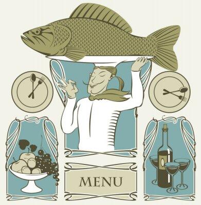 Plakat zestaw ryb gotować na głowie i dwóch dań