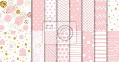 Plakat Zestaw słodki różowy wzór bez szwu Różowa kolekcja tło przerywaną Dziewczynka wektor ozdobnych szablonów geometrycznych