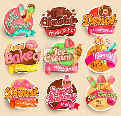 Plakat Zestaw słodkie etykiety żywności.