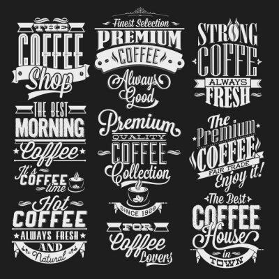 Plakat Zestaw starych etykiet retro kawy na tablicy
