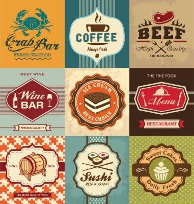Plakat Zestaw starych etykiet retro na żywność