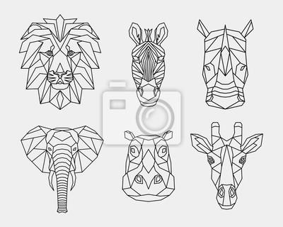 Plakat Zestaw streszczenie wielokątne zwierząt Afryki. Liniowy geometryczny lew, słoń, zebra, żyrafa, nosorożec, hipopotam. Ilustracji wektorowych.