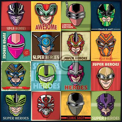 Zestaw Super Heroes vintage plakat projekt