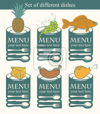 Plakat Zestaw symboli do różnych potraw