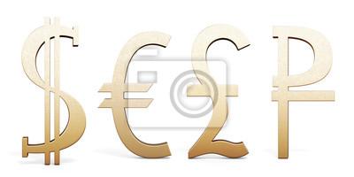 Zestaw Symboli Złote Walutowych Dolar Euro Funta Szterlinga Plakaty Redro