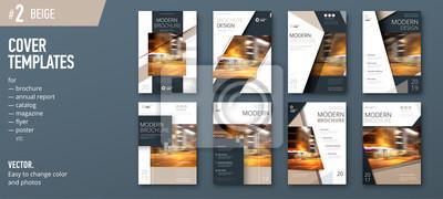 Plakat Zestaw szablonów dla broszury, raportu, katalogu, magazynu lub broszury. Koncepcja kreatywności wektora tle. Beżowy
