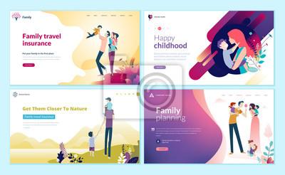 Plakat Zestaw szablonów projektu strony internetowej do planowania rodziny, ubezpieczenia podróży, przyrody i zdrowego życia. Nowoczesne koncepcje ilustracji wektorowych dla rozwoju strony internetowej i mob