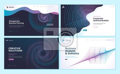 Plakat Zestaw szablonów projektu strony internetowej z abstrakcyjnym tłem do analizy biznesowej i statystyki, zarządzania, komunikacji korporacyjnej. Nowoczesne koncepcje ilustracji wektorowych dla rozwoju s