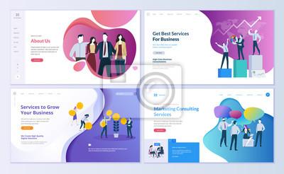 Plakat Zestaw szablonów stron internetowych dla biznesu, finansów i marketingu. Nowoczesne koncepcje wektorowe ilustracji do rozwoju strony internetowej i mobilnych. Łatwa edycja i dostosowywanie.