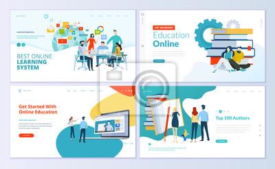 Plakat Zestaw szablonów stron internetowych do e-learningu, edukacji online, e-booków. Nowoczesne koncepcje wektorowe ilustracji do rozwoju strony internetowej i mobilnych.