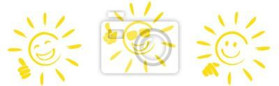 Plakat zestaw szczęśliwych słonecznych ikon z różnych sygnałów ręcznych