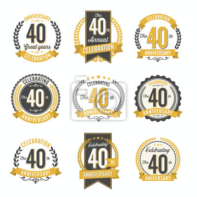 Plakat Zestaw Vintage Anniversary Celebration Odznaki 40-lecie