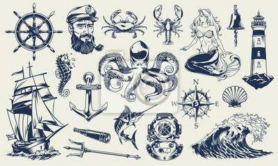 Plakat Zestaw Vintage monochromatyczne elementy morskie