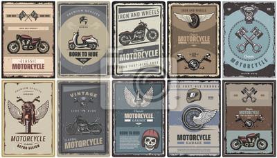 Plakat Zestaw Vintage motocykl kolorowe plakaty