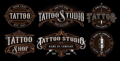Plakat Zestaw vintage tatuaż emblematy (WERSJA NA CIEMNYM TLE)