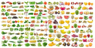 Plakat Zestaw warzyw i owoców na białym tle