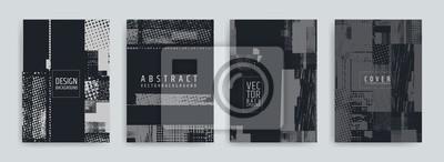 Plakat Zestaw wzorów okładki streszczenie tło. Efekt błędu ekranu. Niepowodzenie. Grafika wektorowa. Pociągnięcia streszczenie tło. Efekt rastra