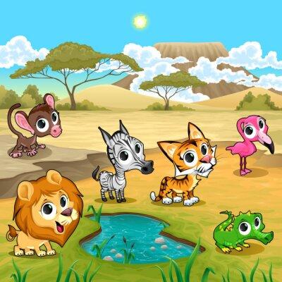 Plakat Zestaw zabawnych dzikich zwierząt w naturze