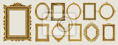 Plakat Zestaw zaproszenia złoty i zielony projekt ramki royal frame