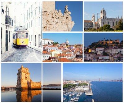 Plakat Zestaw zdjęć z rodzajów zabytków Lizbona, Portugalia