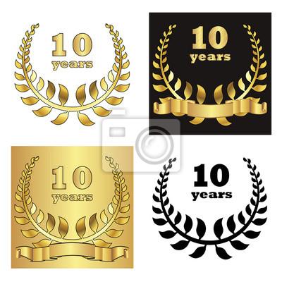 Zestaw Złoty Wieniec Laurowy Z Złote Cyfry Jubileuszowych Lat Plakaty Redro