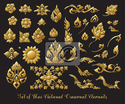 Plakat Zestaw złotych elementów tradycyjnego tajskiego ornamentu. Zdjęcie ilustracyjne