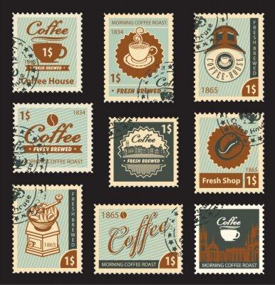 Plakat Zestaw znaczków na temat kawy