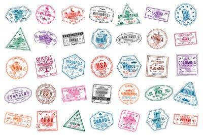Plakat Zestaw znaczków wizowych do paszportów. Znaczki urzędów międzynarodowych i imigracyjnych. Znaczki wizy przyjazdowej i wyjazdowej