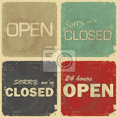 Plakat zestaw znaków: Open - nieczynne - 24 godzin