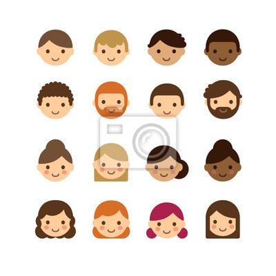 c3fec5f34fc83 Plakat Zestaw zróżnicowanej męskich i żeńskich awatarów na białym tle.  Różne odcienie skóry