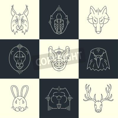 Plakat Zestaw zwierząt liniowa płaskie ikony, etykiety, ilustracje dla swojego projektu. Lynx, małpa, wilk, lew, bat, Orzeł, królika, jelenia