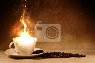 Plakat ziarna kawy i filiżanka kawy