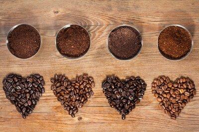 Plakat Ziarna kawy i mielona kawa