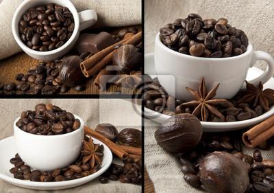 ziarna kawy i przypraw collage