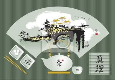 Plakat zielona herbata z chińskiej krajobrazu