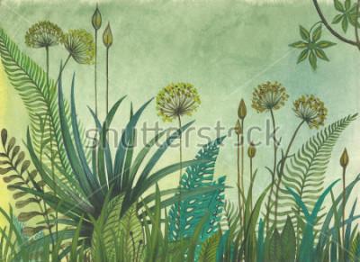 Plakat Zielona trawa rosnąca w dżungli. ilustracja malowana akwarelami
