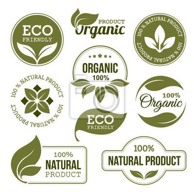 Plakat Zielone Produkty ekologiczne Etykiety